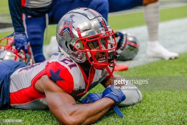 Houston Roughnecks cornerback Charles James II celebrates an interception with his teammates during the game between the Dallas Renegades and the...