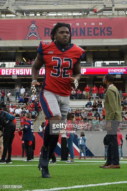 Houston Roughnecks cornerback Deatrick Nichols enters the field before the football game between the St Louis Battlehawks and Houston Roughnecks at...