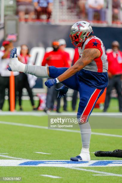 Houston Roughnecks defensive end Corey Crawford celebrates a sack during the game between the Dallas Renegades and the Houston Roughnecks on March 1,...