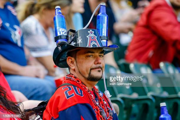 Houston Roughnecks fans cheer during the game between the Dallas Renegades and the Houston Roughnecks on March 1, 2020 at Globe Life Park in...