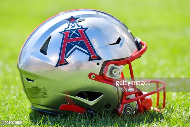 Houston Roughnecks helmet sits on the sideline prior to a game between the Tampa Bay Vipers and the Houston Roughnecks at Raymond James Stadium on...