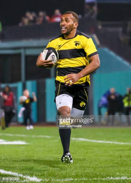 Houston SaberCats center Osea Kolinisau runs to the end zone and scores a try during the Major League Rugby match between the Chicago Lions and...