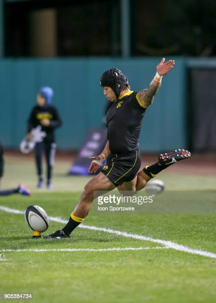Houston SaberCats fullback Zach Pangelinan kicks a penalty kick during the rugby match between the Vancouver Ravens and Houston SaberCats on January...