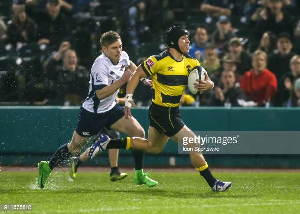 Houston SaberCats fullback Zach Pangelinan runs to the end zone during the Major League Rugby match between James Bay AC and the Houston SaberCats on...
