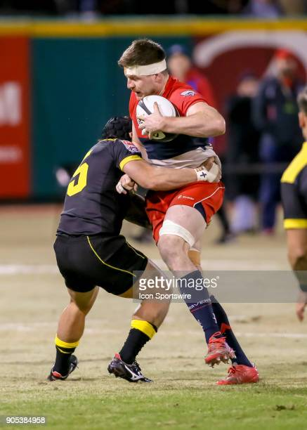 Houston SaberCats lock Charlie Hewitt tackles Vancouver Ravens eightman Karl Moran during the rugby match between the Vancouver Ravens and Houston...