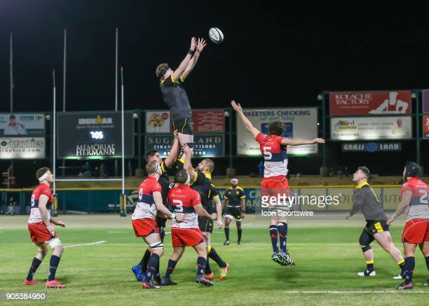 Houston SaberCats lock Charlie Hewitt wins the ball during the rugby match between the Vancouver Ravens and Houston SaberCats on January 13 2018 at...