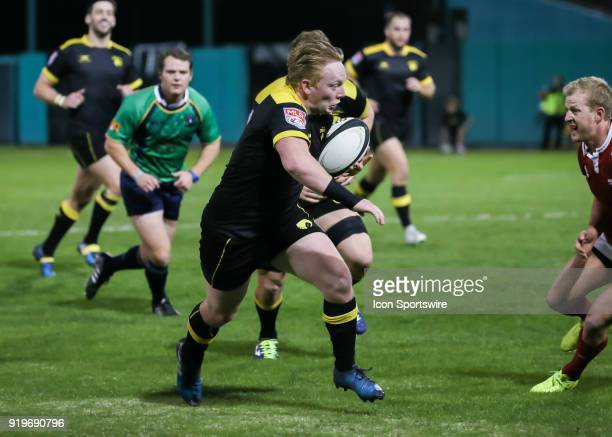 Houston SaberCats scrumhalf Conor Murphy runs to the end zone during the Major League Rugby match between the New York Athletic Club and Houston...