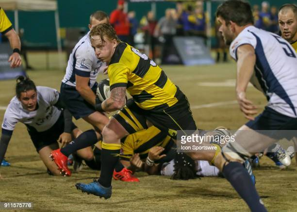 Houston SaberCats scrumhalf Conor Murphy takes the ball toward the end zone during the Major League Rugby match between James Bay AC and the Houston...