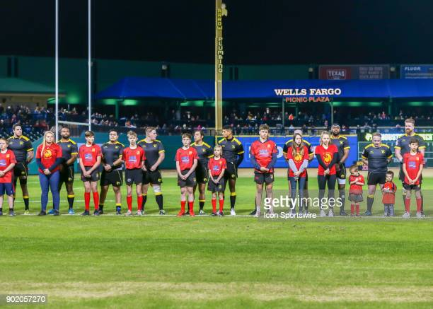 Houston SaberCats stand for the National Anthem before the opening rugby match between the Seattle Saracens and Houston SaberCats on January 6 2018...