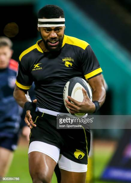 Houston SaberCats wing Josua Vici approaches the try zone during the rugby match between the Vancouver Ravens and Houston SaberCats on January 13...