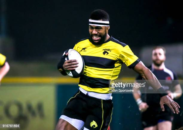 Houston SaberCats wing Josua Vici reaches the end zone for a try during the Major League Rugby match between the Chicago Lions and Houston SaberCats...