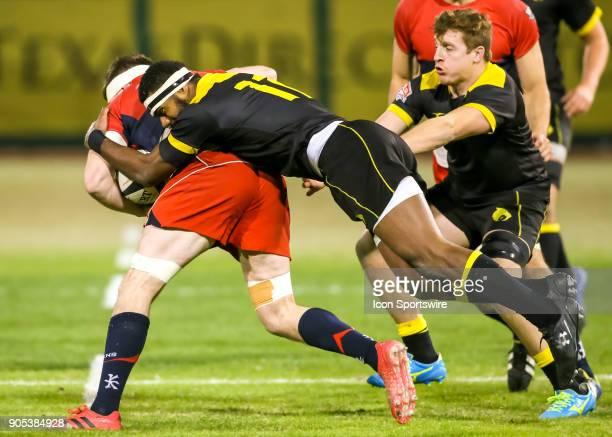 Houston SaberCats wing Josua Vici tackles Vancouver Ravens eightman Karl Moran during the rugby match between the Vancouver Ravens and Houston...