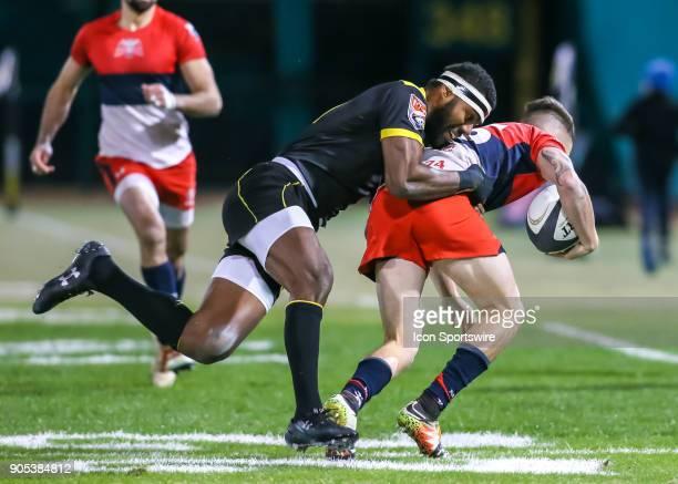 Houston SaberCats wing Josua Vici tackles Vancouver Ravens fullback Aaron McLellan during the rugby match between the Vancouver Ravens and Houston...