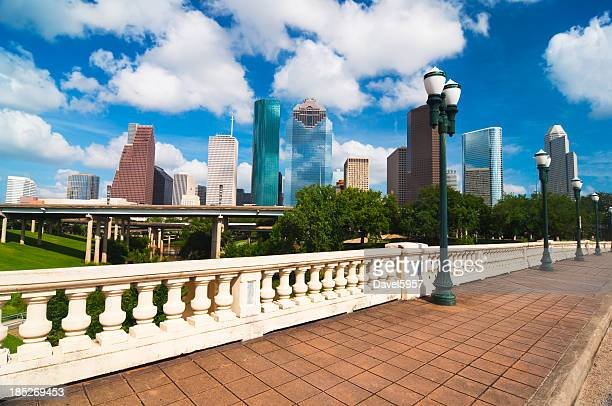 Houston skyline, bridge, and historic lamp posts