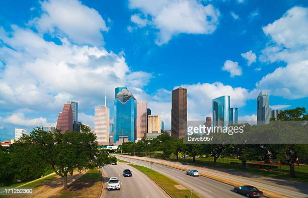 Houston skyline, parkway, and clouds