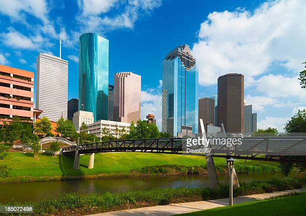 Houston skyline, river, and bridge