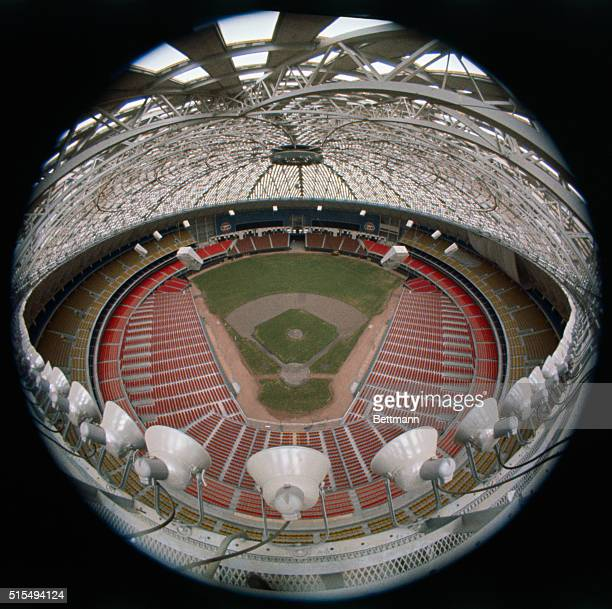Fisheye view of the playing field in the Astrodome Stadium home of the Houston Astros Baseball Club The roof of the huge stadium is formed with a...