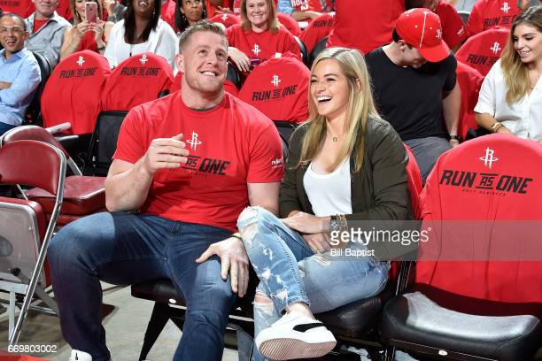 Houston Texan JJ Watt and American Soccer player Kealia Ohai attend the Western Conference Quarterfinals game between the Oklahoma City Thunder and...