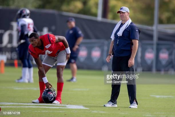 Houston Texan QB Deshaun Watson and head coach Bill O'Brien, right, on the field during Houston Texans Training Camp, August 14 at Houston Methodist...