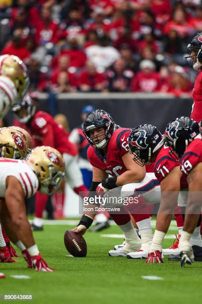 Houston Texans center Nick Martin gets ready for a play during the football game between the San Francisco 49ers and the Houston Texans on December...