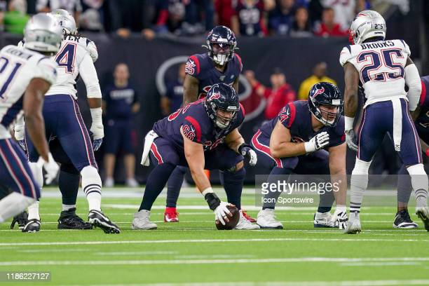 Houston Texans center Nick Martin gets ready to snap the ball during the game between the New England Patriots and Houston Texans on December 1, 2019...