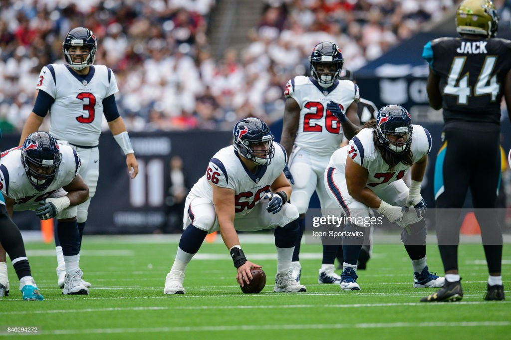 Houston Texans center Nick Martin (66) gets ready to snap the ball during the NFL game between the Jacksonville Jaguars and the Houston Texans on September 10th, 2017 at NRG Stadium in Houston, TX.