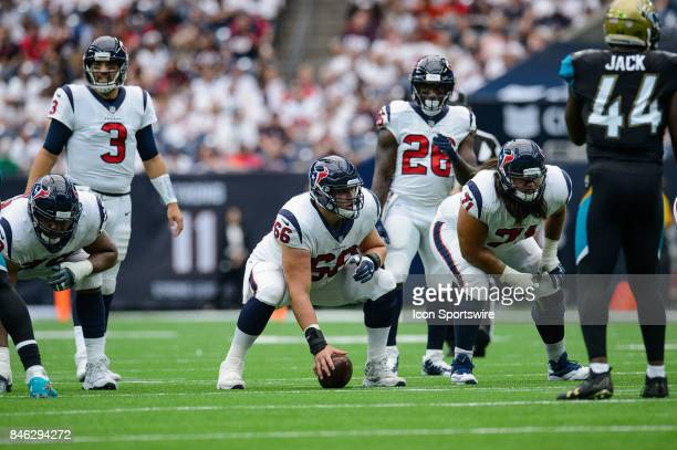 Houston Texans center Nick Martin gets ready to snap the ball during the NFL game between the Jacksonville Jaguars and the Houston Texans on...