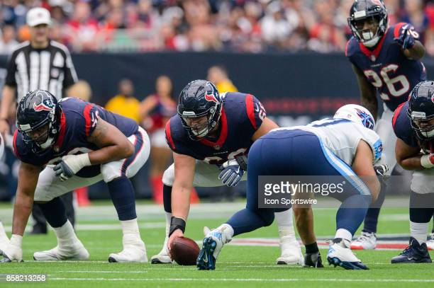 Houston Texans center Nick Martin gets ready to snap the ball during the NFL game between the Tennessee Titans and the Houston Texans on October 1...