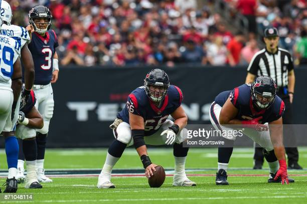 Houston Texans center Nick Martin gets ready to snap the ball during the football game between the Indianapolis Colts and the Houston Texans on...