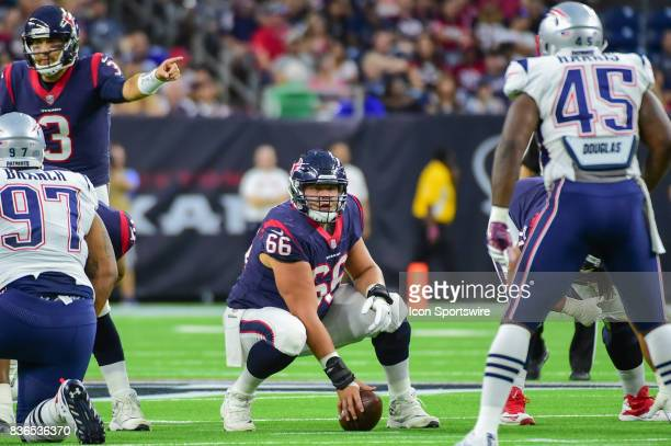 Houston Texans center Nick Martin looks over the defense during the NFL preseason game between the New England Patriots and the Houston Texans on...