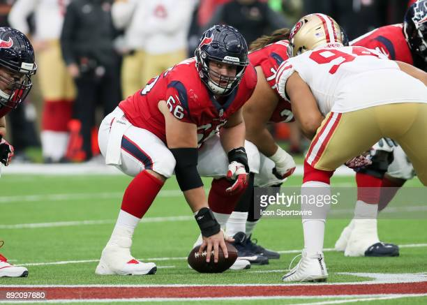 Houston Texans center Nick Martin waits to snap the ball during the NFL game between the San Francisco 49ers and Houston Texans on December 10 2017...