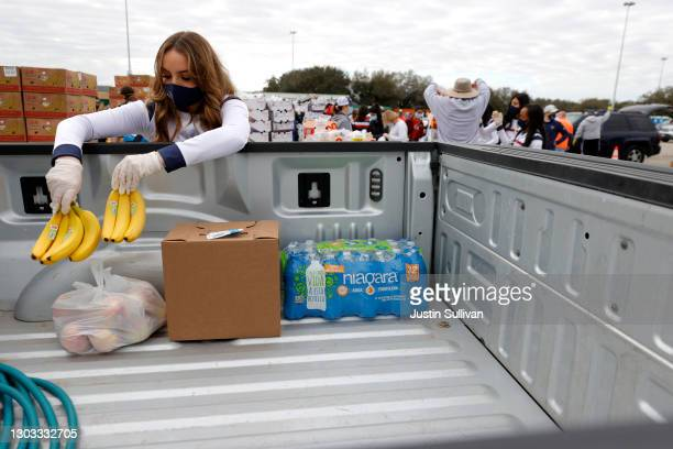 Houston Texans cheerleader places bananas into the bed of a truck food during the Houston Food Bank food distribution at NRG Stadium on February 21,...