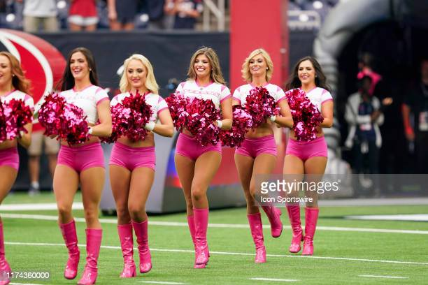 Houston Texans cheerleaders perform before the NFL game between the Atlanta Falcons and Houston Texans on October 6 2019 at NRG Stadium in Houston...