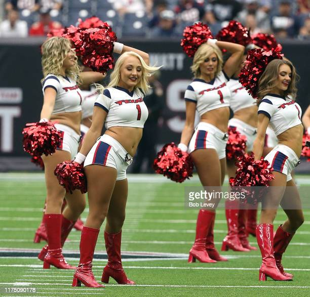 Houston Texans Cheerleaders perform during a football game between the Jacksonville Jaguars and Houston Texans at NRG Stadium on September 15 2019 in...