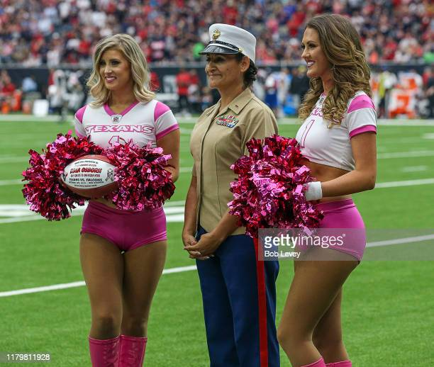 Houston Texans Cheerleaders perform during a football game between the Atlanta Falcons and Houston Texans at NRG Stadium on October 06 2019 in...