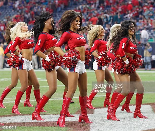 Houston Texans cheerleaders perform during a football game between the Philadelphia Eagles and the Houston Texansat Reliant Stadium on November 2...