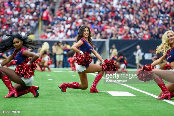 Houston Texans cheerleaders perform during the football game between the Carolina Panthers and Houston Texans at NRG Stadium on September 29 2019 in...