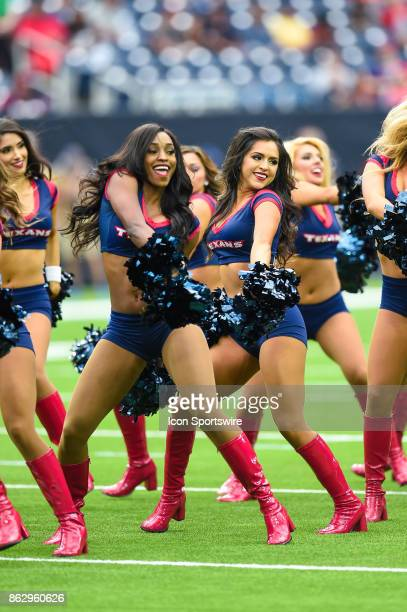 Houston Texans cheerleaders perform during the football game between the Cleveland Browns and the Houston Texans on October 15 2017 at NRG Stadium in...