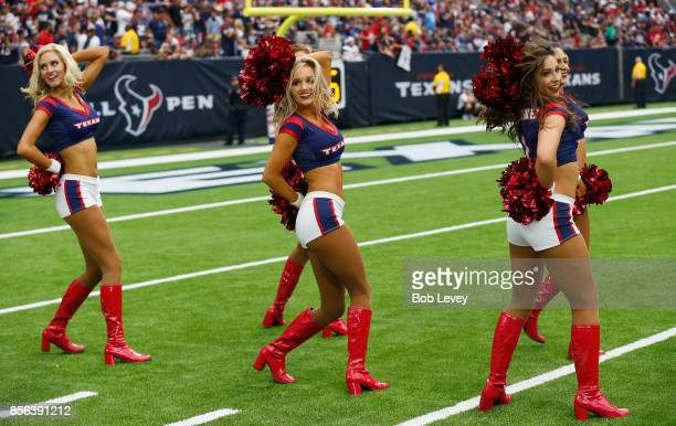 Houston Texans cheerleaders perform during the game at NRG Stadium on October 1 2017 in Houston Texas