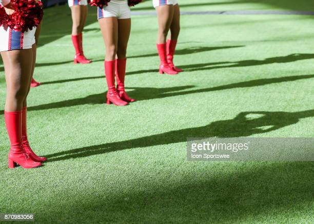 Houston Texans cheerleaders watch the game during the football game between the Indianapolis Colts and Houston Texans at NRG Stadium on November 5...