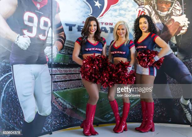 Houston Texans cheerleaders were on hand to support the Super Bowl LI NFLUSO Salute to Military Service Barbecue on January 31 2017 at Ellington...