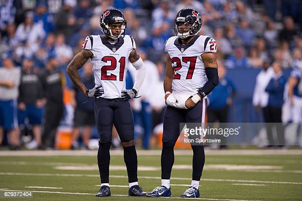Houston Texans cornerback A.J. Bouye and Houston Texans safety Quintin Demps wait on the field during a review during the NFL game between the...