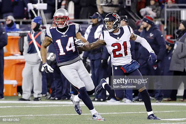 Houston Texans cornerback AJ Bouye keeps close tabs on New England Patriots wide receiver Michael Floyd during an AFC Divisional Playoff game between...