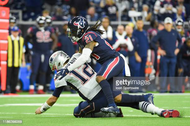 Houston Texans cornerback Bradley Roby sacks New England Patriots quarterback Tom Brady during the football game between the New England Patriots and...
