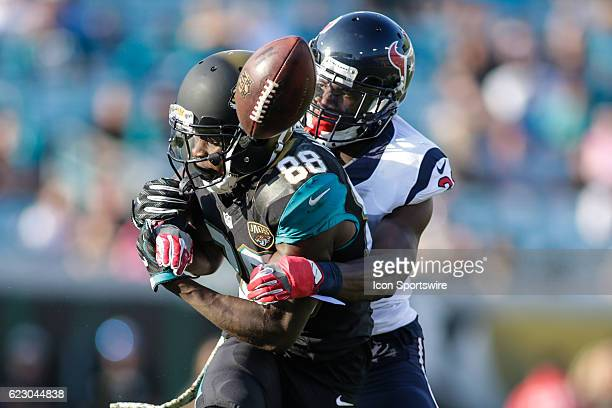 Houston Texans Cornerback Charles James II breaks ups pass intended for Jacksonville Jaguars Wide Receiver Allen Hurns during the NFL game between...