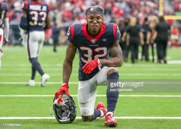 Houston Texans cornerback Lonnie Johnson says a prayer during the football game between the Carolina Panthers and Houston Texans at NRG Stadium on...