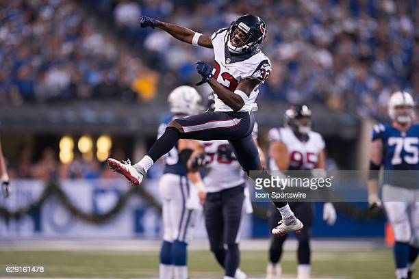 Houston Texans cornerback Robert Nelson celebrates a defensive stop during the NFL game between the Houston Texans and Indianapolis Colts on December...