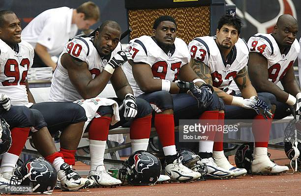 Houston Texans defensive end Anthony Weaver defensive end Mario Williams defensive end Alfred Malone defensive end Jason Babin and defensive end ND...