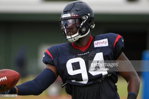 Houston Texans defensive end Charles Omenihu participates in drills during the Houston Texans Training Camp at the Houston Methodist Training Center...