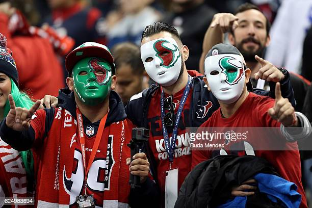 Houston Texans fans are seen in attendance prior to the game against the Oakland Raiders at Estadio Azteca on November 21 2016 in Mexico City Mexico